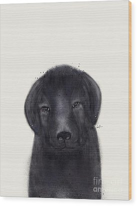 Wood Print featuring the painting Little Black Labrador by Bri B