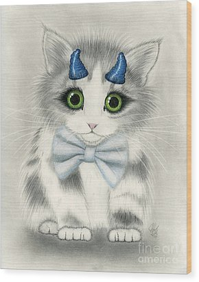 Wood Print featuring the drawing Little Blue Horns - Devil Kitten by Carrie Hawks