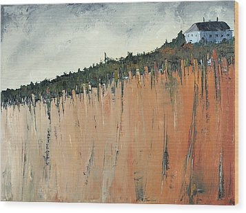 Little Blue House On The Cliff Wood Print by Carolyn Doe