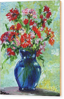 Little Blue Vase Wood Print by Ginette Callaway