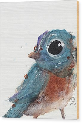 Wood Print featuring the painting Little Bluebird by Dawn Derman