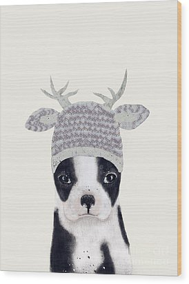 Wood Print featuring the painting Little Boston Deer by Bri B