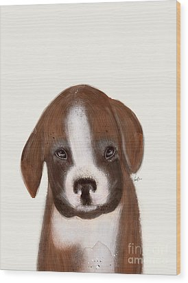 Wood Print featuring the painting Little Boxer by Bri B