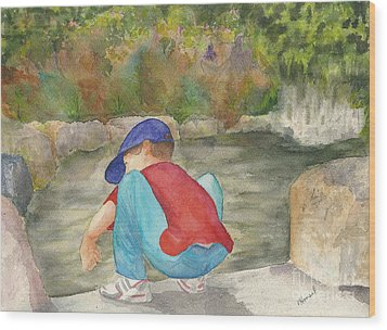 Little Boy At Japanese Garden Wood Print