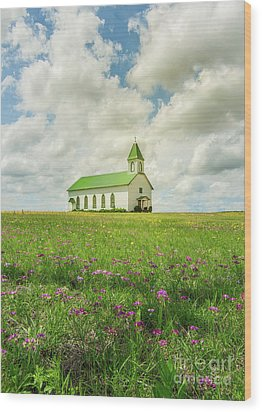 Little Church On Hill Of Wildflowers Wood Print by Robert Frederick
