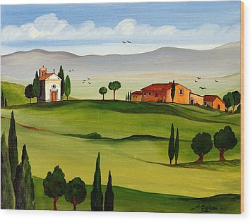 Wood Print featuring the painting Little Church by Roberto Gagliardi