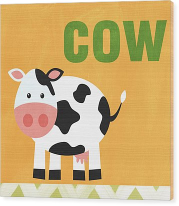 Little Cow Wood Print by Linda Woods