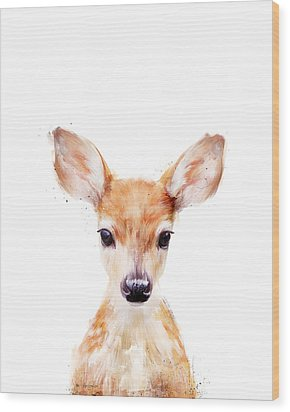 Little Deer Wood Print by Amy Hamilton