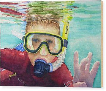 Little Diver Wood Print by Sam Sidders