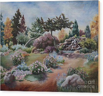 Wood Print featuring the painting Little Eden by Brenda Thour