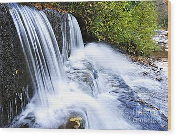 Little Elbow Waterfall And Williams River Wood Print by Thomas R Fletcher