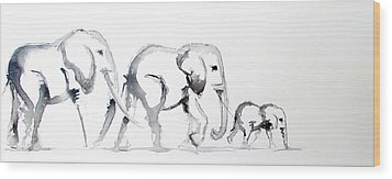 Little Elephant Family Wood Print