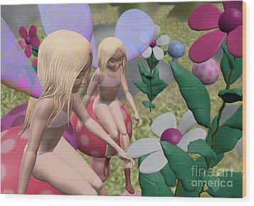 Little Fairies Wood Print by Kriss Orayan