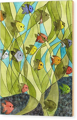 Little Fish Big Pond Wood Print by Catherine G McElroy