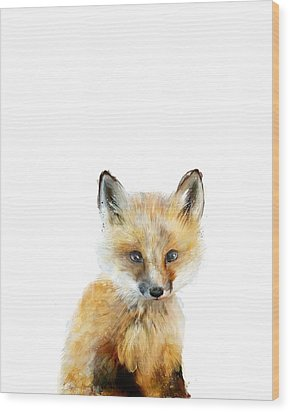 Little Fox Wood Print by Amy Hamilton