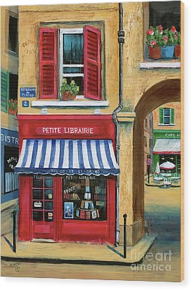 Little French Book Store Wood Print by Marilyn Dunlap