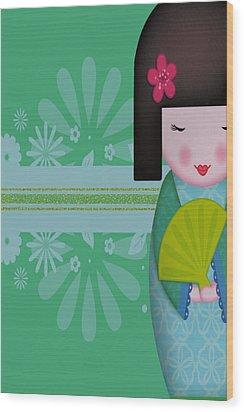 Little Geisha Blue Wood Print by Jannina Ortiz