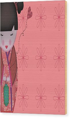 Little Geisha Pink Wood Print by Jannina Ortiz