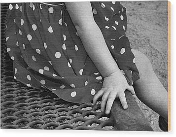 Little Girl Hand Polka Dot Dress Wood Print by Tracie Kaska