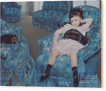 Little Girl In A Blue Armchair Wood Print by Mary Stevenson Cassatt