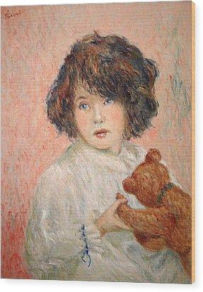 Little Girl With Bear Wood Print