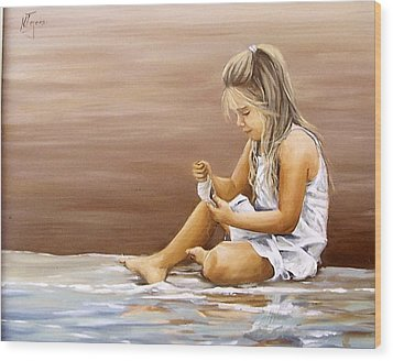 Wood Print featuring the painting Little Girl With Sea Shell by Natalia Tejera
