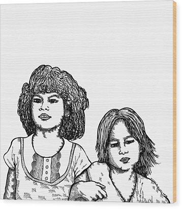 Little Girls Wood Print by Karl Addison