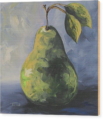 Little Green Pear Wood Print