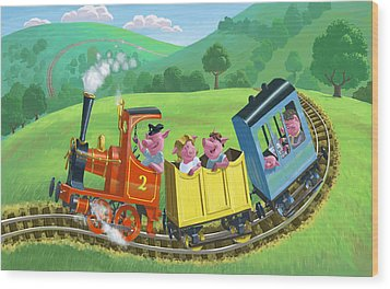 Little Happy Pigs On Train Journey Wood Print by Martin Davey