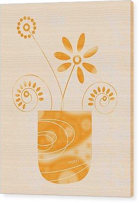 Little Herb Garden Wood Print by Frank Tschakert