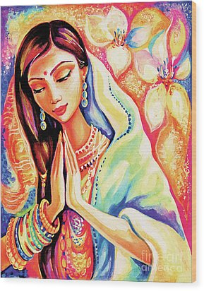 Wood Print featuring the painting Little Himalayan Pray by Eva Campbell
