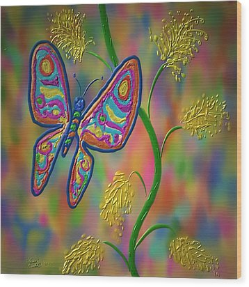 Wood Print featuring the digital art Little Hip Butterfly by Kevin Caudill