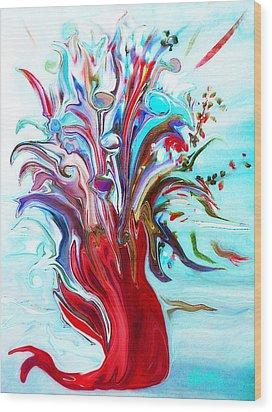 Abstract Little Mermaid Vase  By Sherriofpalmsprings Wood Print