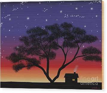 Little House At Sunset Wood Print