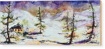 Little House In The Mountains Wood Print by Ginette Callaway