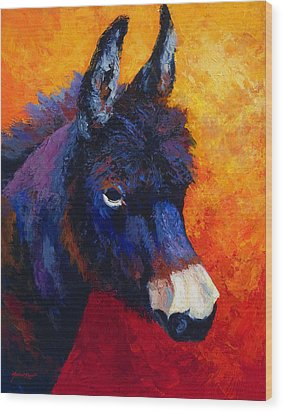 Little Jack - Burro Wood Print by Marion Rose
