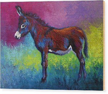 Little Jenny - Burro Wood Print by Marion Rose