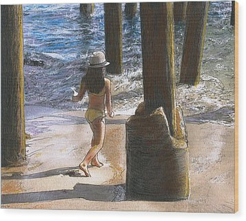 Little Jessica And Her Hat Malibu Pier  Wood Print by Randy Sprout