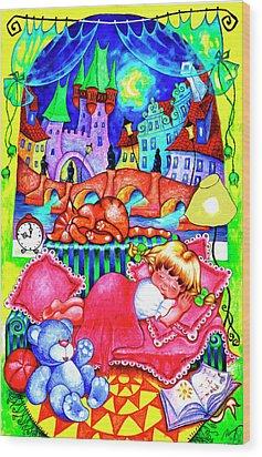 Little Katya Wood Print by Inga Konstantinidou