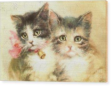 Little Kittens Wood Print