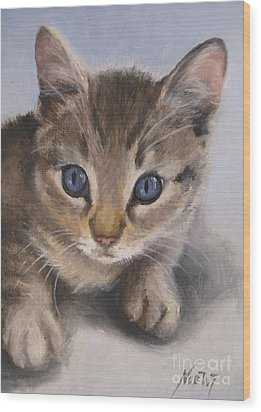 Wood Print featuring the painting Little Kitty by Jindra Noewi