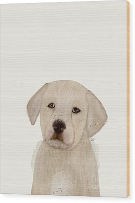 Wood Print featuring the painting Little Labrador by Bri B