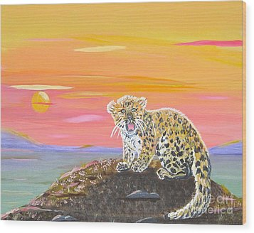 Wood Print featuring the painting Little Leopard by Phyllis Kaltenbach