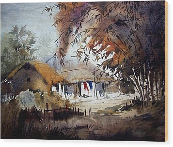 Wood Print featuring the painting Little Light At The Village by Samiran Sarkar
