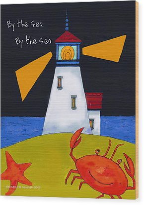 Little Lighthouse By The Sea Wood Print