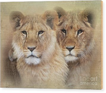 Wood Print featuring the digital art Little Lions by Trudi Simmonds