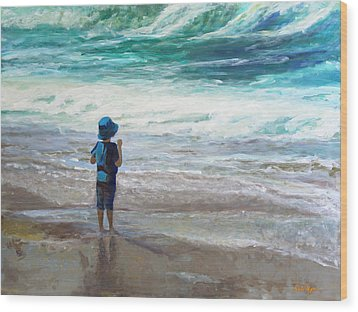 Little Man, Big Waves Wood Print