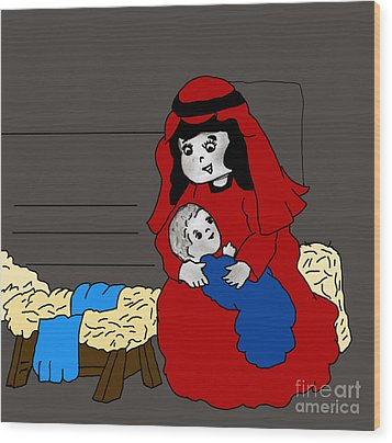Little Mary And Baby Jesus In Red And Blue Wood Print by Sonya Chalmers