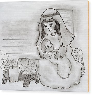 Little Mary And Baby Jesus Wood Print by Sonya Chalmers