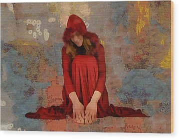 Wood Print featuring the mixed media Little Mel Riding Hood by Trish Tritz